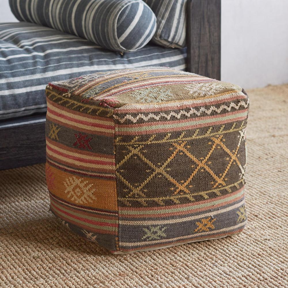 Desert Stripe Kilim Pouf Bohemian Interior Design Hand Weaving