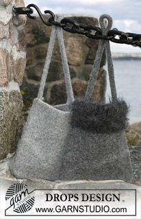 "Gefilzte DROPS Tasche in ""Eskimo"" und ""Puddel"". ~ DROPS Design"