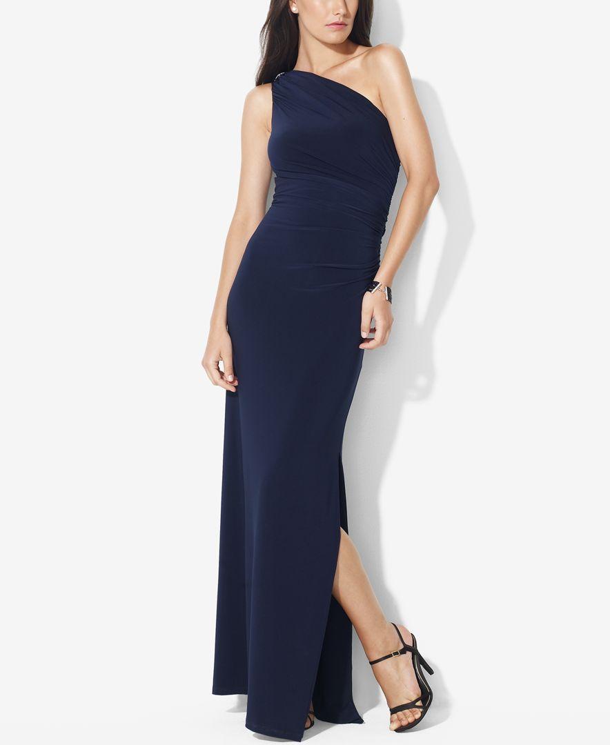 Lauren Ralph Lauren One-Shoulder Brooch Gown | Brooches, Shoulder ...