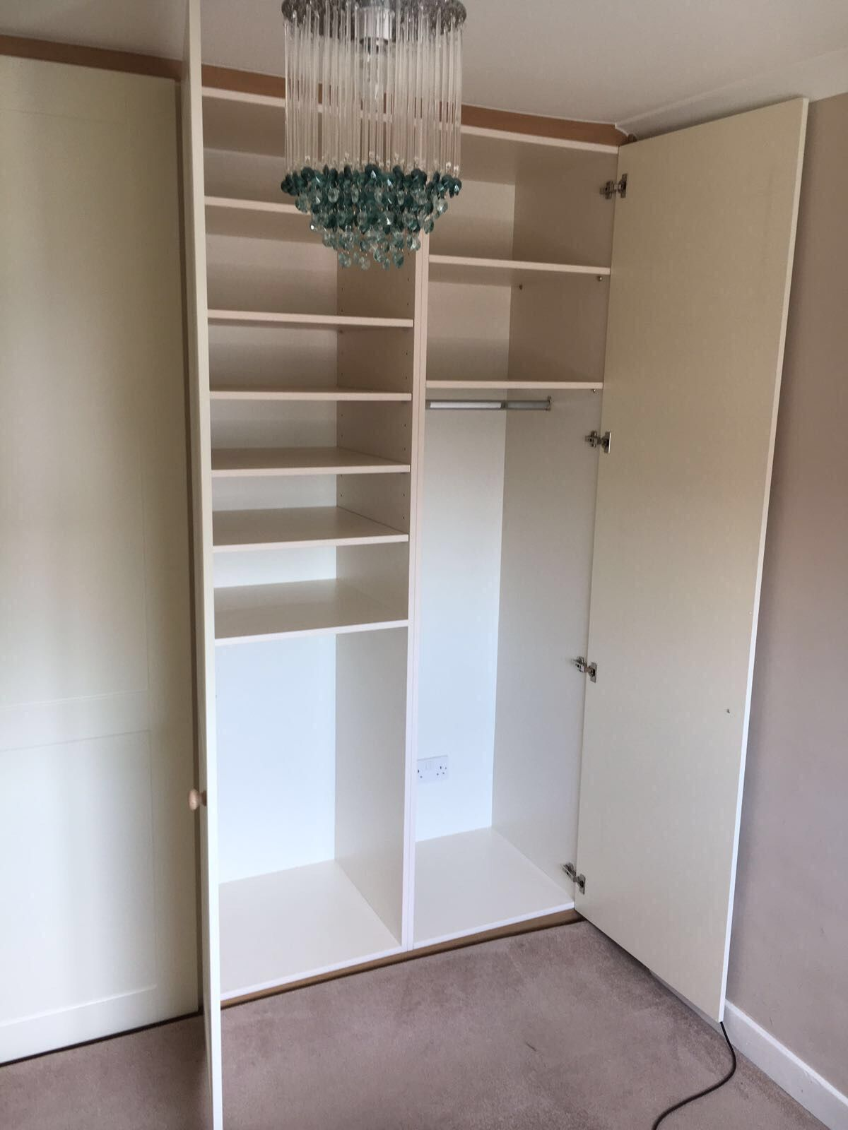 Stylish And Practical With Lots Of Space The Interior Can Be Built Bespoke For You Cream Shaker Doors And Woo Fitted Wardrobes Diy Furniture Fitted Bedrooms