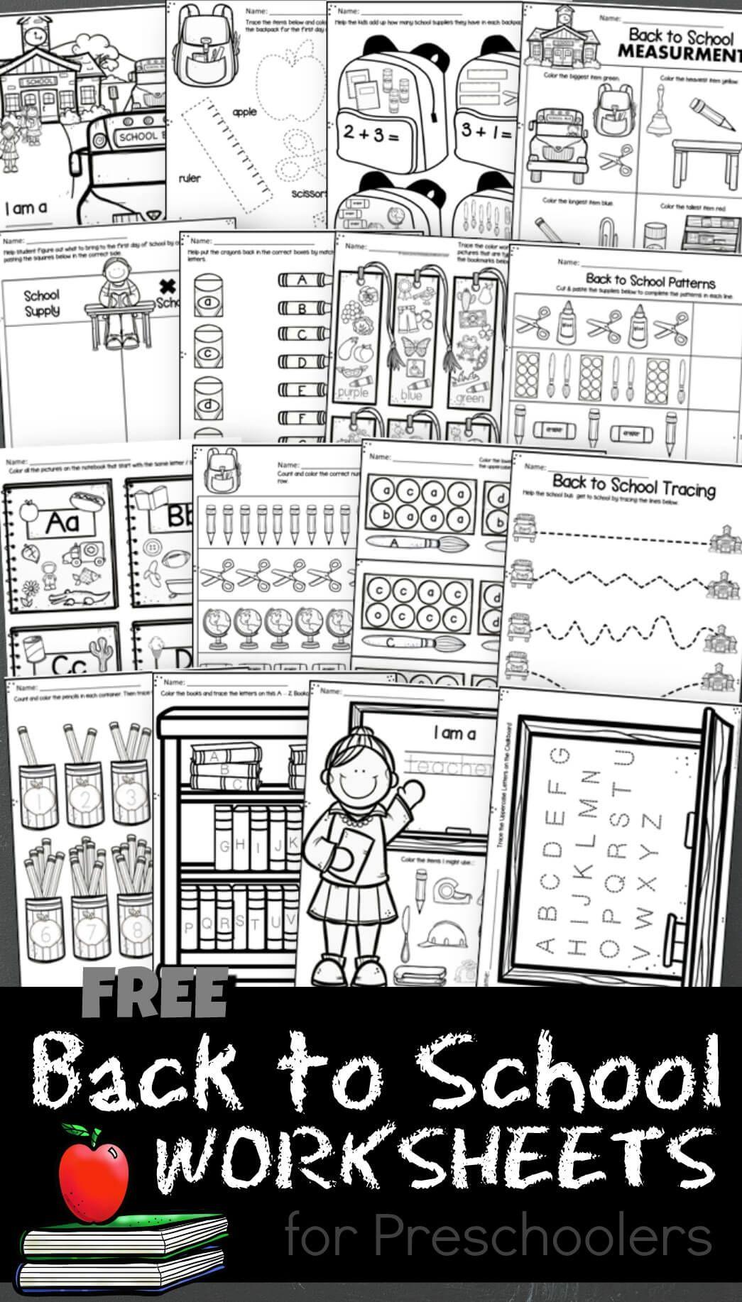 Free Back To School Worksheets For Preschoolers