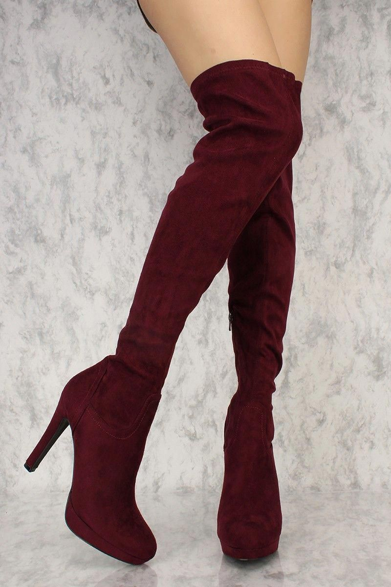 4e3091abe77 Buy Plum Platform Pump Thigh High Heel Boots Faux Suede with cheap price  and high quality