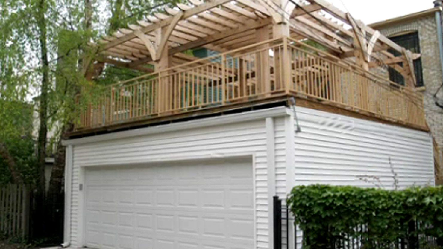 Flat roof garage 2 story garage pinterest flat roof for Garage deck