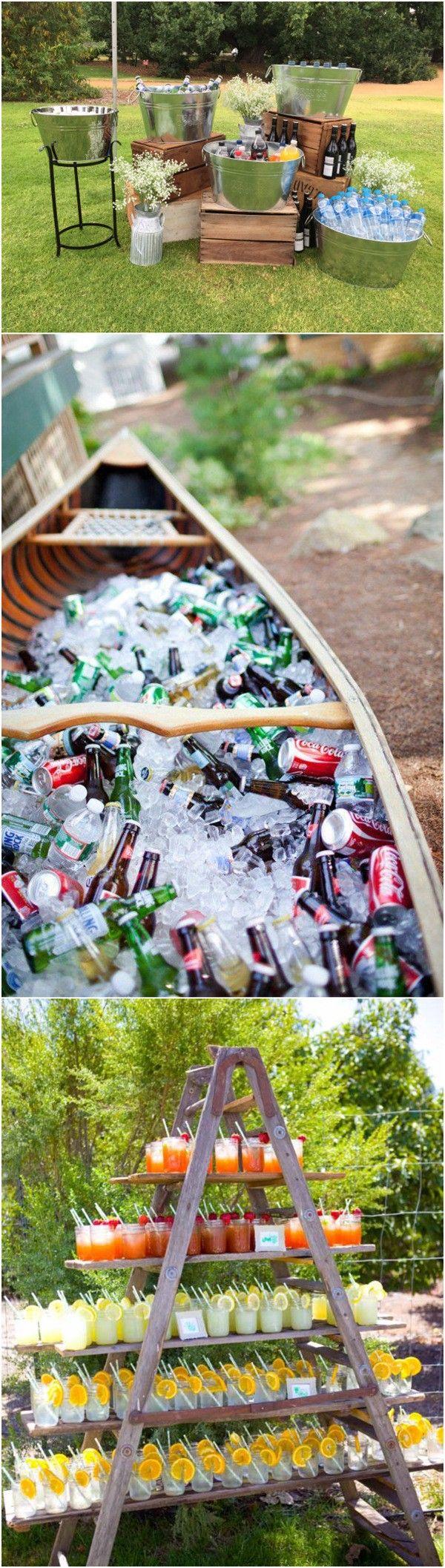 diy drink station for outdoor rustic wedding ideas