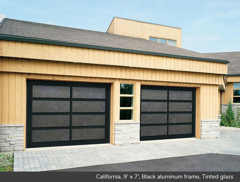 California 9 X 7 Black Aluminum Frame Tinted Glass Garage Doors Contemporary Garage Doors Modern Garage Doors