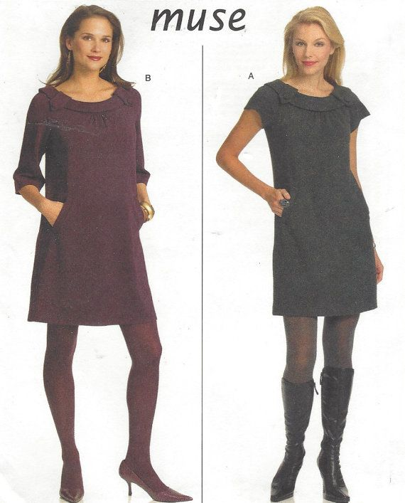 Muse Womens Stretch Knit Dress 2 Lengths OOP Butterick Sewing ...
