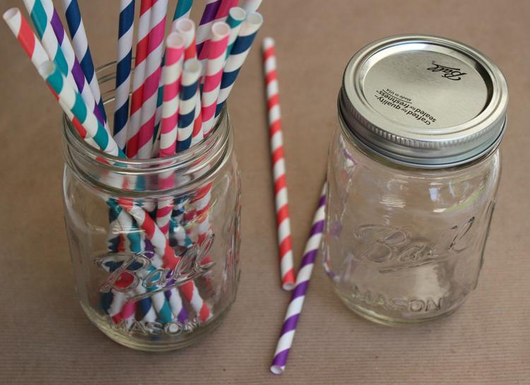 Glitter N Glue Mason Jar And Striped Straw Diy Mason Jar With Straw Mason Jars Diy Straw