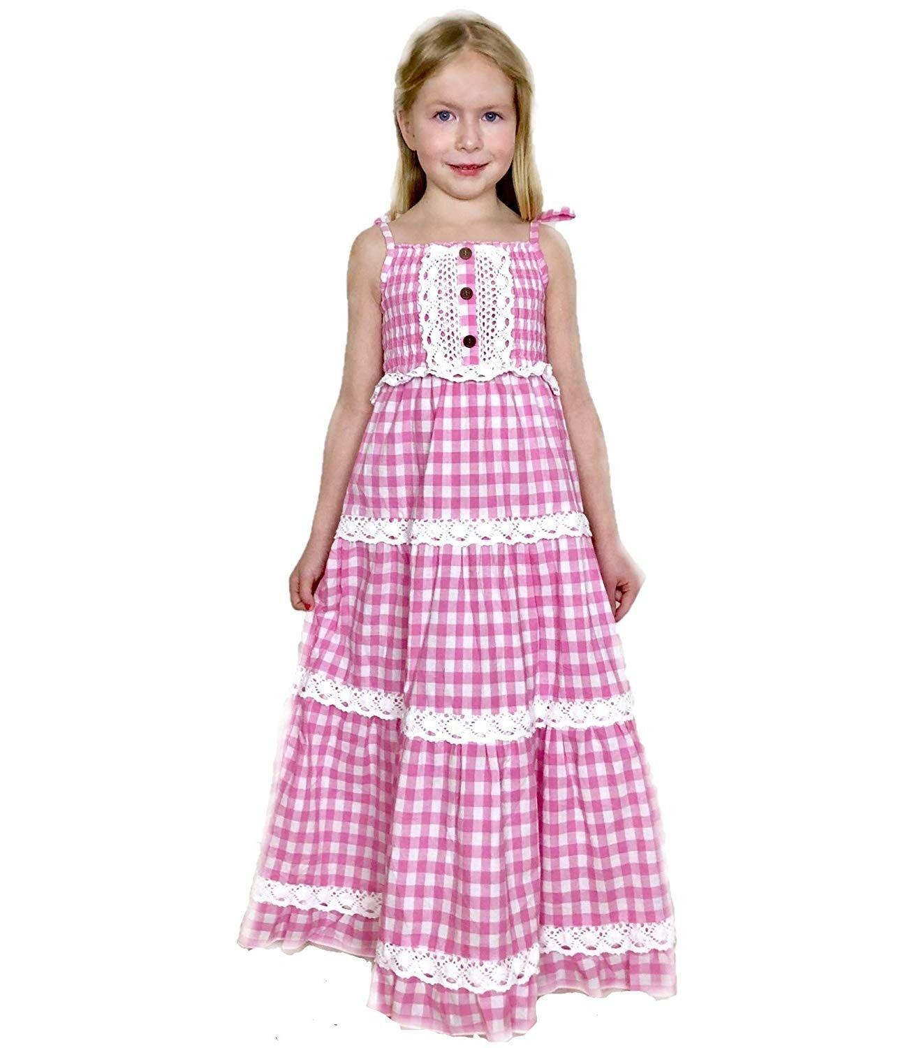 Girl S Pink Gingham Lace Tiered Maxi Dress Sizes 3t 4t Or 5t Pink C918m8xoc7i Tiered Maxi Dress Maxi Dress Girls Casual Dresses [ 1500 x 1306 Pixel ]
