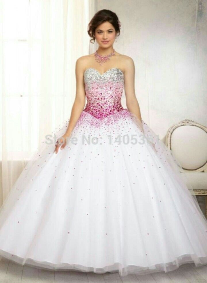 Vestido De 15 Anos Longo Degrade Rosa Prata E Branco Vestidos