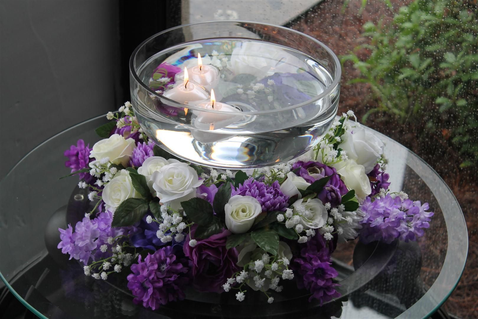 Floral Arrangement With Floating Candle Bowl Purple Lavender White And Bling Wedding