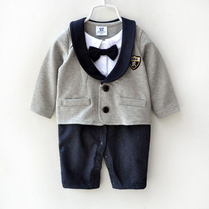Cheap Bebé arropa 100% algodón alta calidad pajarita vestido formal traje  infantil de la ropa del mono recién nacido caballero mamelucos del bebé 385aa3a9267f