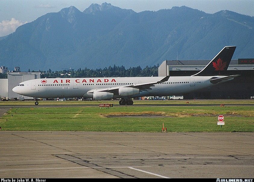 Airbus A340313, Air Canada, CFYKZ, cn 154, first flight