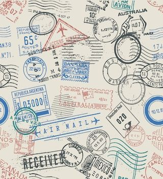 Print A Wallpaper Travel Stamps By