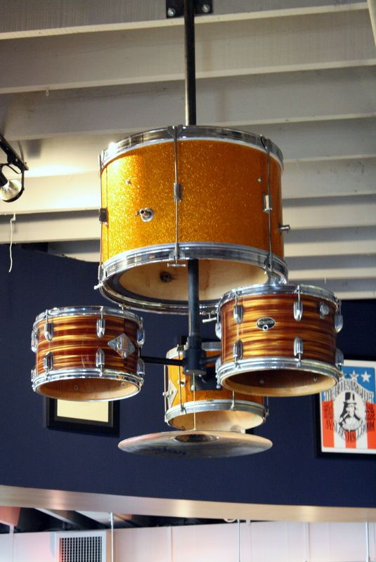 Drum chandelier how cool for a pool room boys room or - Cool lighting effects for your room ...