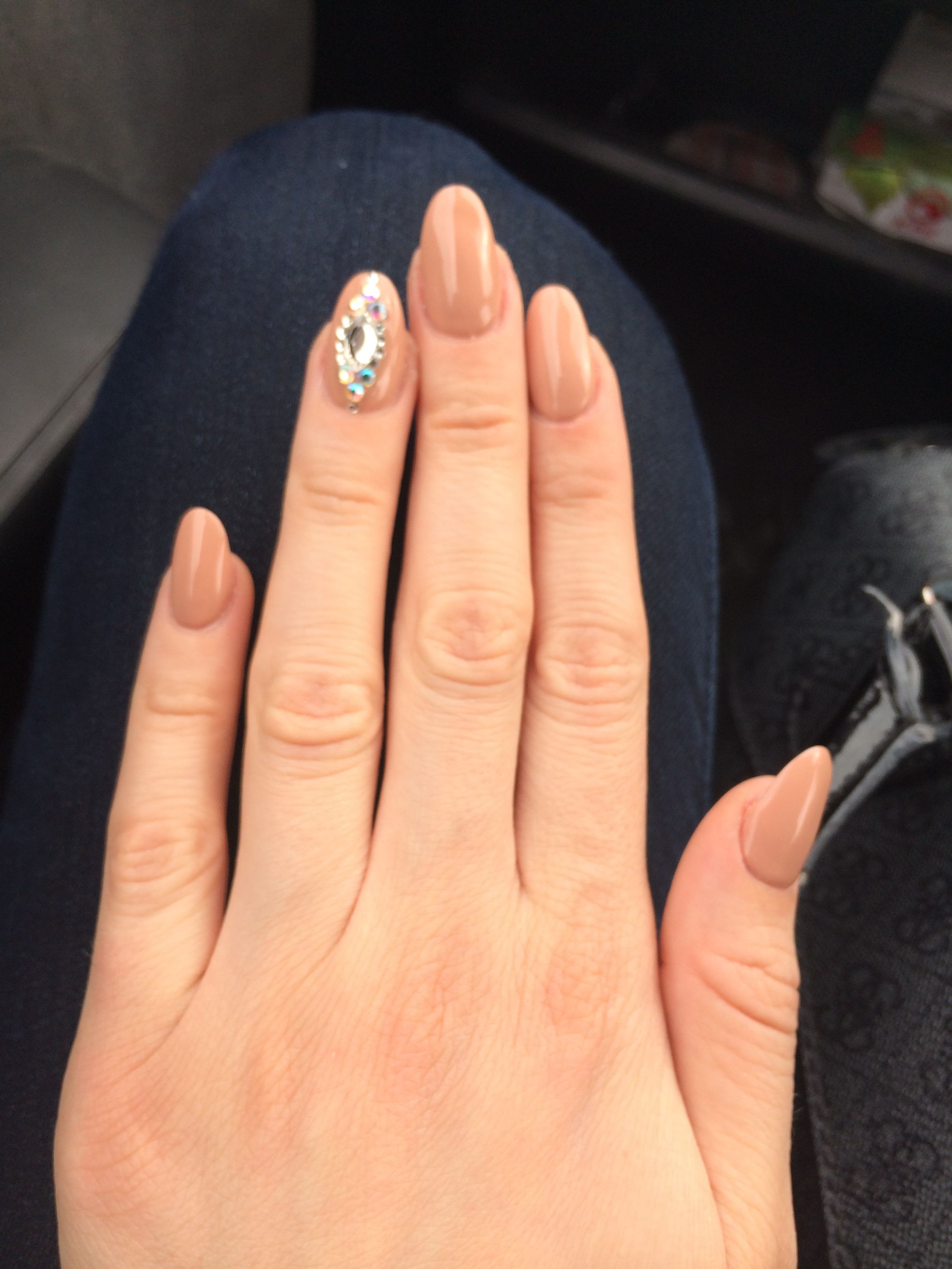 Acrylic nails, beige nails with diamond, oval nails, beige nail ...