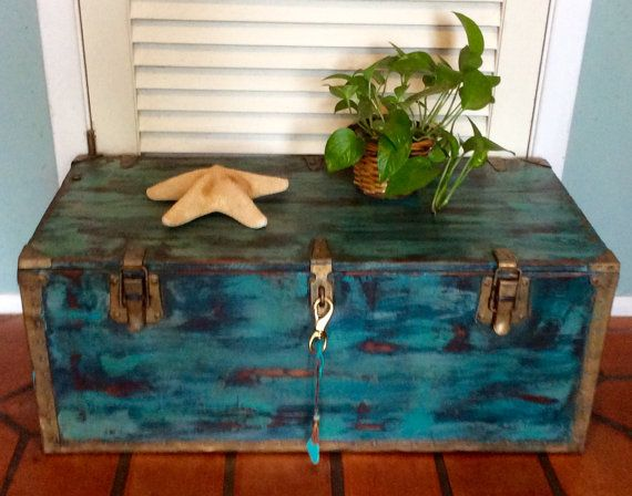 Vintage Blue Trunk Coffee Table 1942 By RevisitedConcepts On Etsy