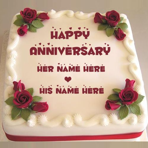 Hy Anniversary Sweet Red Rose Cake With Name Create Delicious For Wedding Wishes