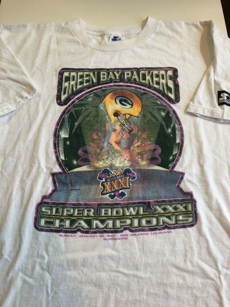 Vintage 1997 Starter Green Bay Packers T Shirt Sz Xl Super Bowl Champions Xxxi Starter Graphictee Green Bay Packers Shirts Green Bay