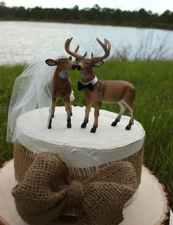 Doe and Buck cake topper Deer wedding cake topper Hunting wedding     Doe and Buck cake topperDeer wedding cake by MorganTheCreator   48 00
