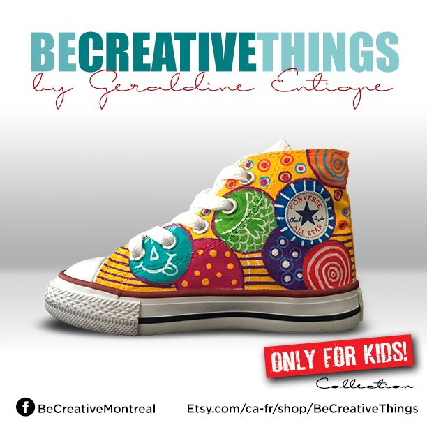 I am a designer and above all an artist, I transform  Converses® shoes into real piece of art. BeCreative offers personalized service. Shoes for adults and children are customized with patterns and unique colors.