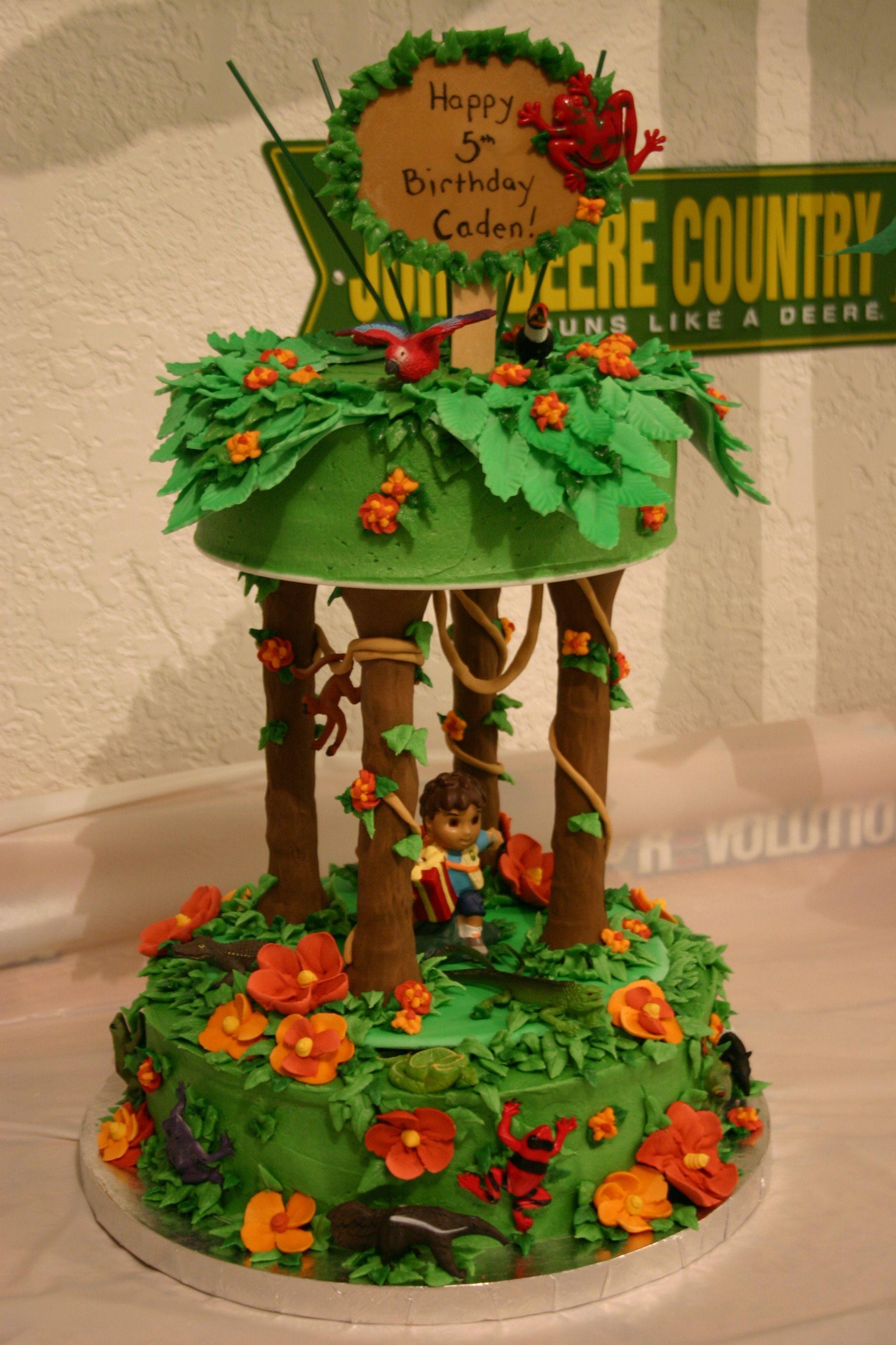 Cake, Tiered Rainforest Diego With Animals