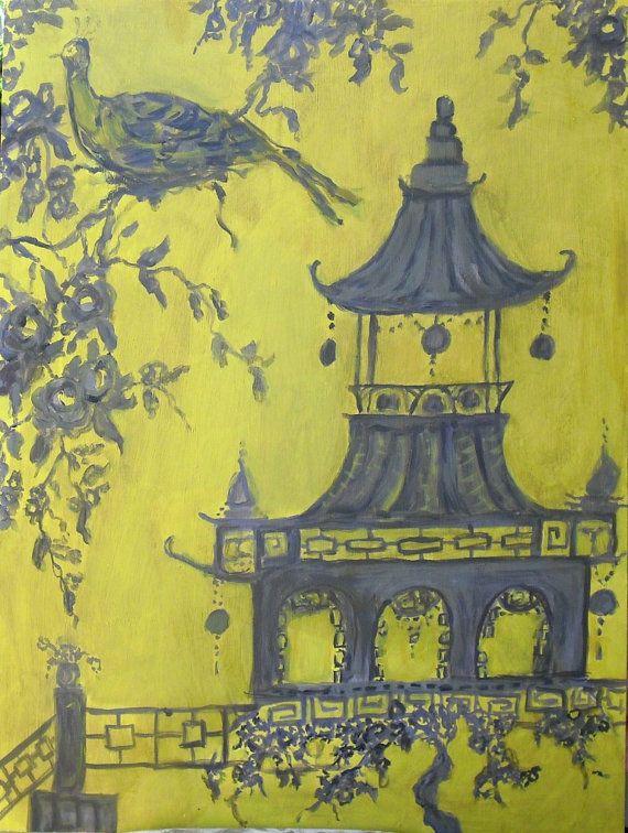 Neo Asian Toile Art ~ Yellow and Grey Chinoiserie Print ...