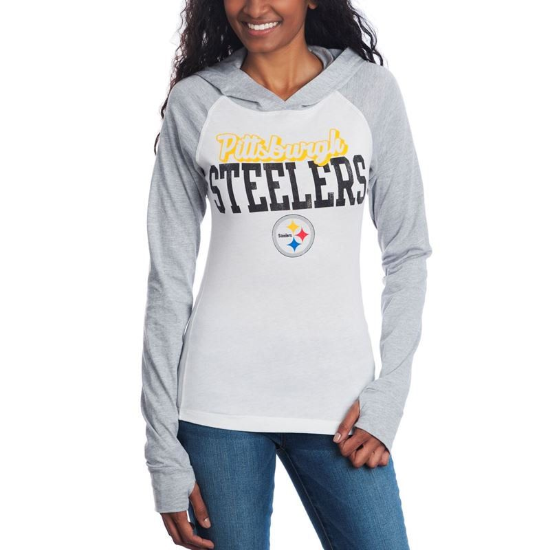 Shop the Official Steelers Pro Shop for Pittsburgh Steelers Women s Old  School Long Sleeve Hooded T-Shirt 259cf76cc