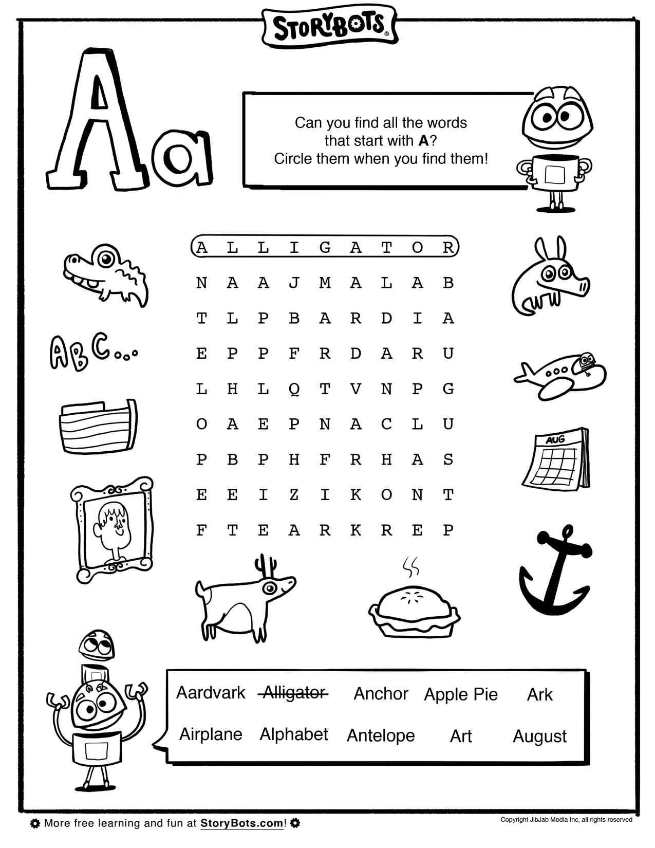 letter a word find abc activity sheets storybots