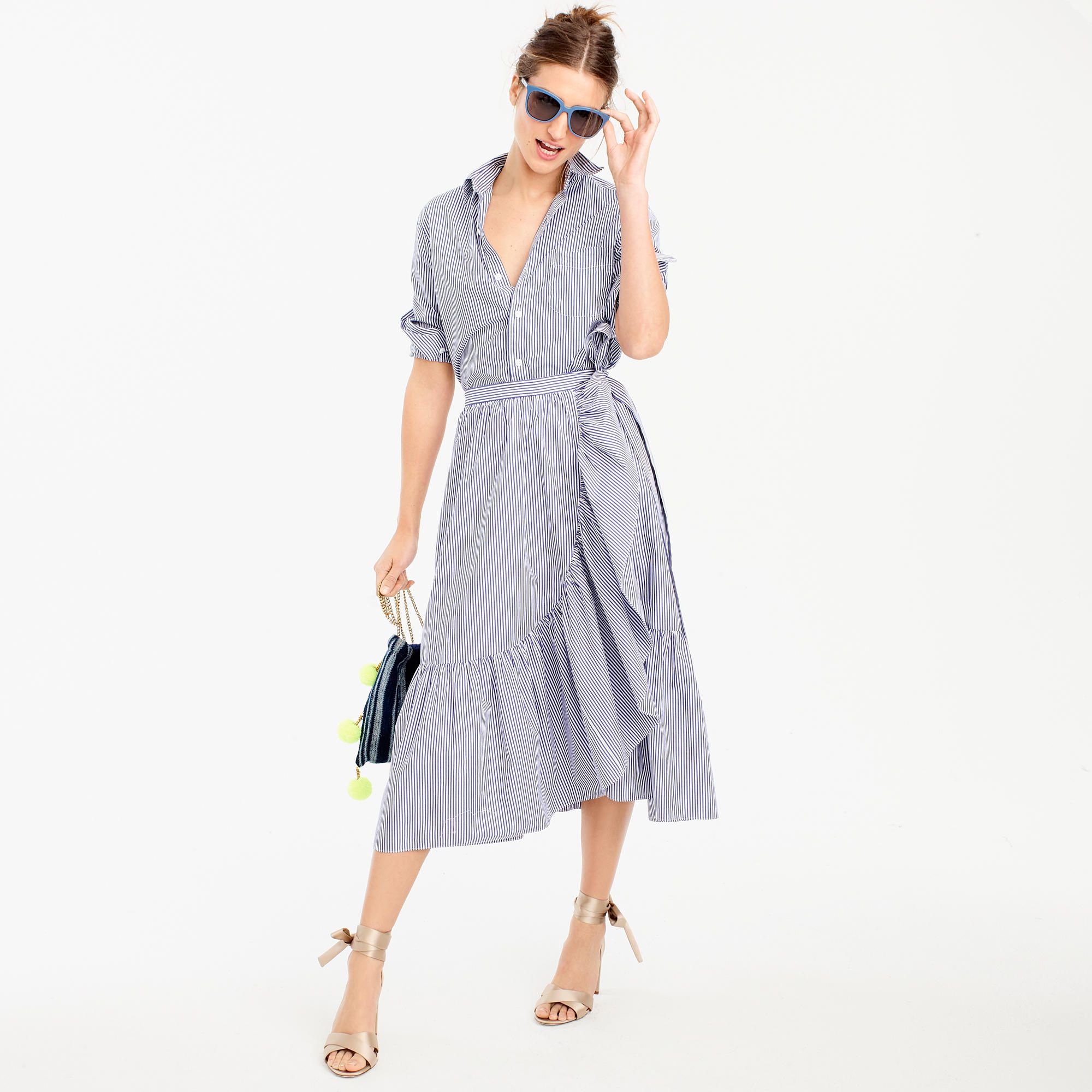 Ruffle wrap skirt in shirting stripe | Pinterest | Ruffles, Wraps ...