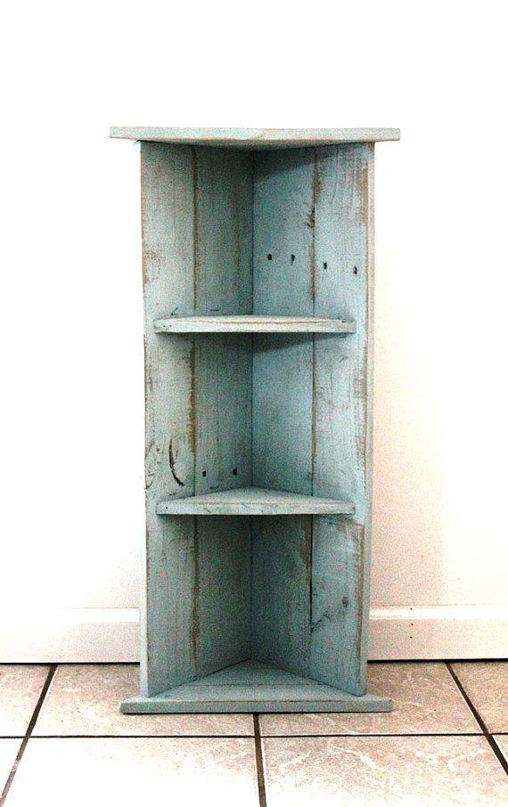 Handmade Corner Bookcase, Alice Blue, Two Shelves, Reclaimed Wood