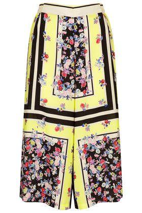 Fluro Floral Border Culottes #topshop