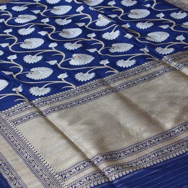d777b46859 Navy Blue Pure Katan Silk Banarasi Handloom Saree | My Dream Closet ...