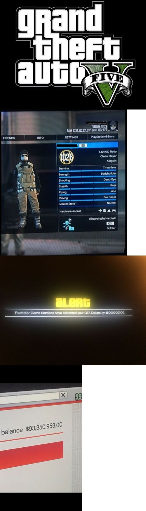Strategy Guides and Cheats 156595: Gta V Modded Account