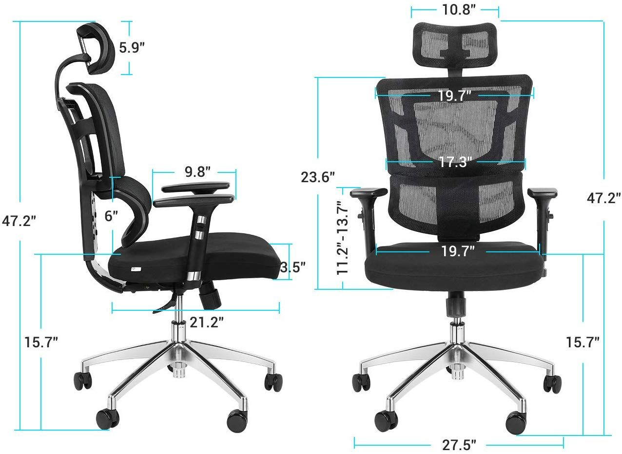 Lv Life Ergonomic Office Desk Chair High Back Mesh Desk Chair With Adjustable Arm Rests Computer Chair Height Adjustable And Head Support 3 Adjustable Tilt Ten