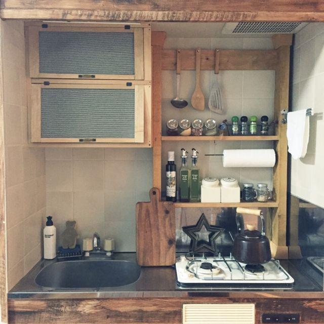 キッチン 1r ワンルーム 一人暮らし 1人暮らし などのインテリア実例