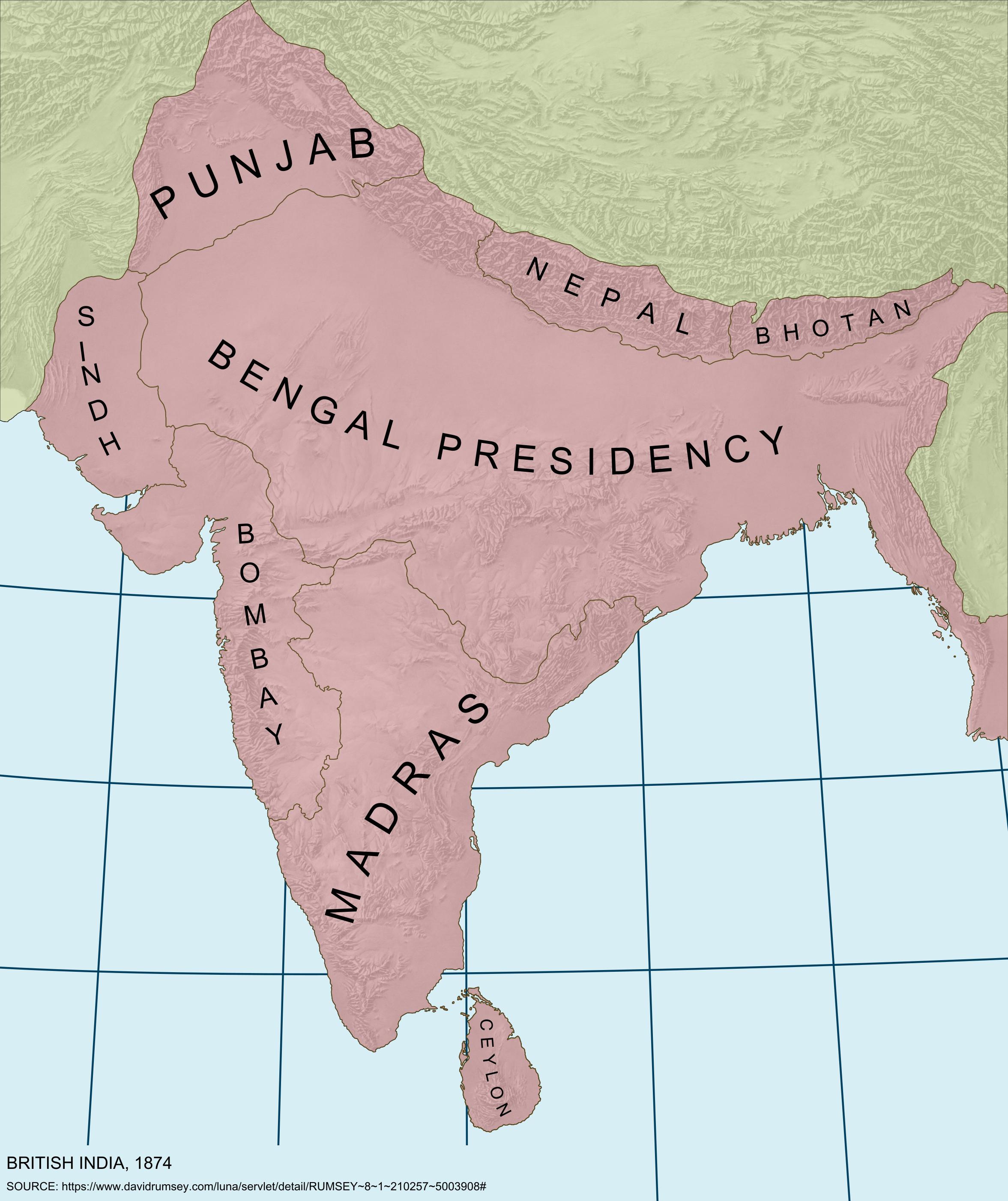 Provinces of British India 1874 Provinces of