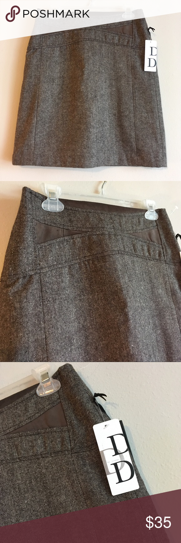 27a8795e9d NWT Twill Marled Brown Pencil Mini Midi Skirt A comfortable, wrinkle free  wool blend pencil