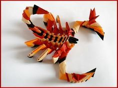 How to make 3d origami Scorpion. Tutorial. Paper gift/