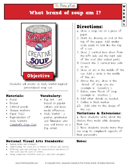 Warhol Lesson Soup Can Pdf Warhol Art Art Lessons Elementary School Art Projects