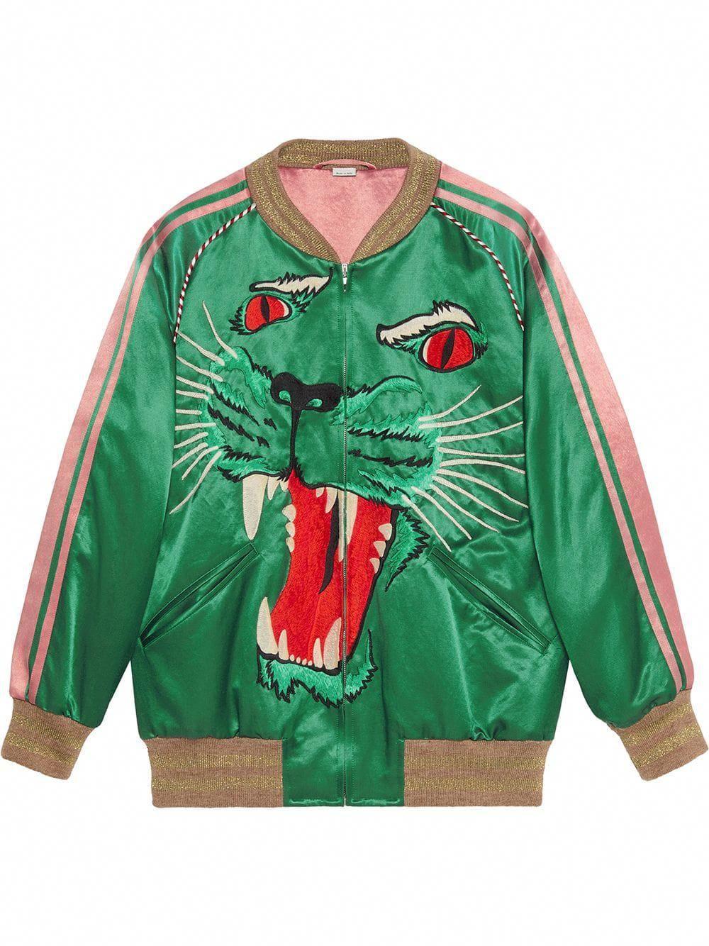 Gucci Bomber Jacket With Panther Face Green Leatherjacketsformenblue Designer Bomber Jacket Bomber Jacket Leather Jacket Men [ 1334 x 1000 Pixel ]