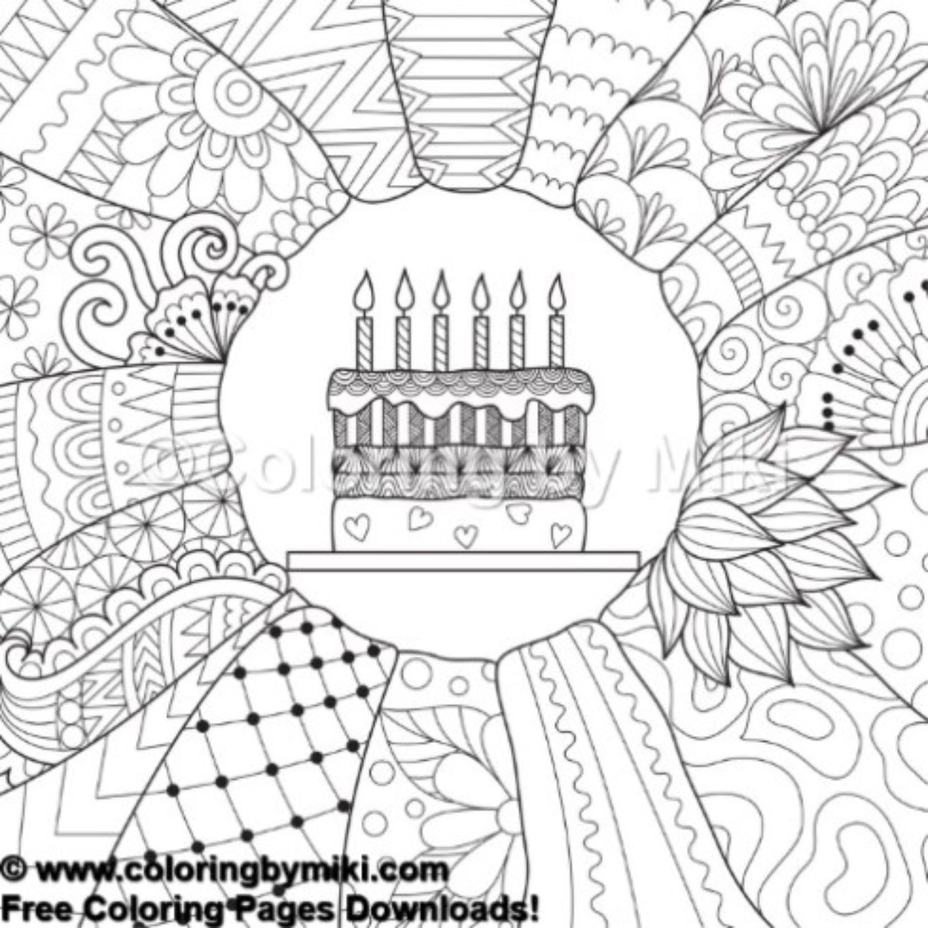 Happy Birthday Zentangle Cake Coloring Page 738 Free Coloring Pages Coloring Pages Coloring Books