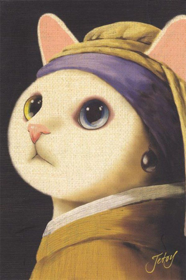 Parody Of Girl With A Pearl Earring By Johannes Vermeer Cats