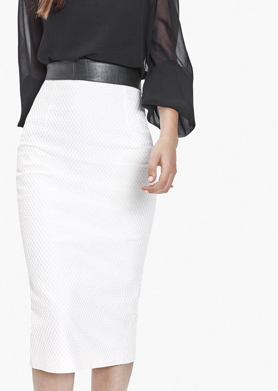 6410afb92 Falda Recta Def Blanca de lino - Etxart&Panno Online | ropa | Faldas ...
