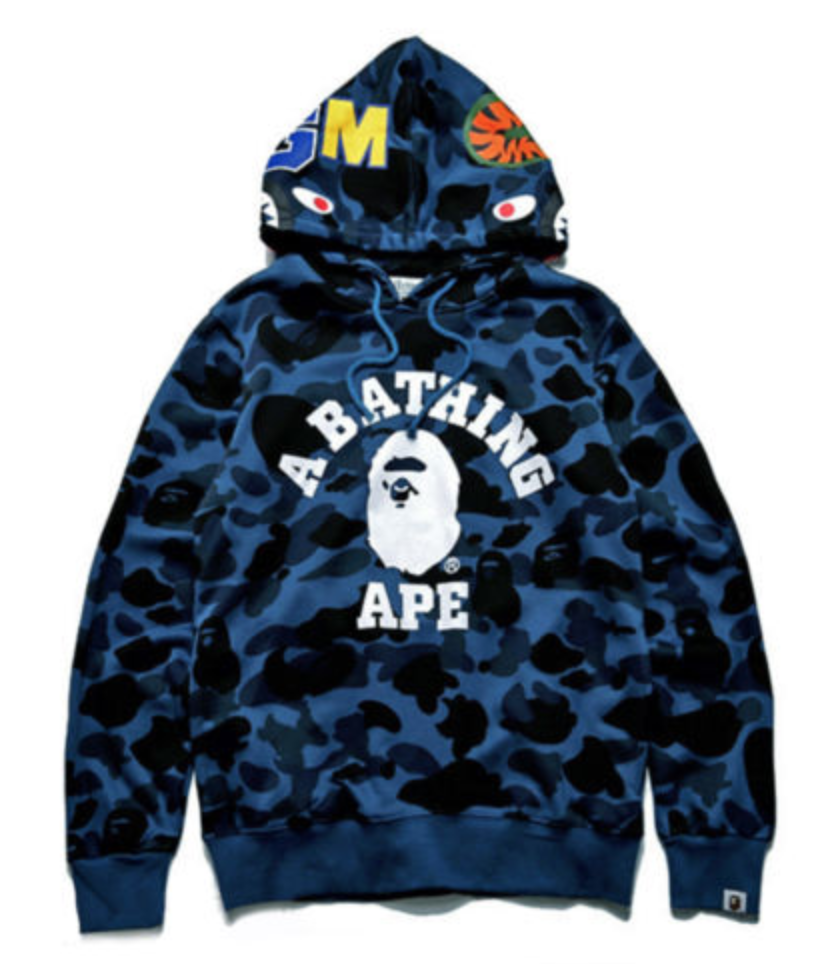FOR SALE  2018 Bathing Ape Bape Shark Head Camo Pullover Hoodie Sweatshirt  Coat Men Jacket 7f2299c5199e