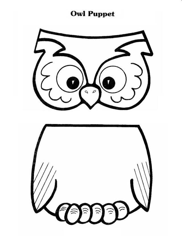 OWL pattern for lunch bag puppet. Also has a cute poem