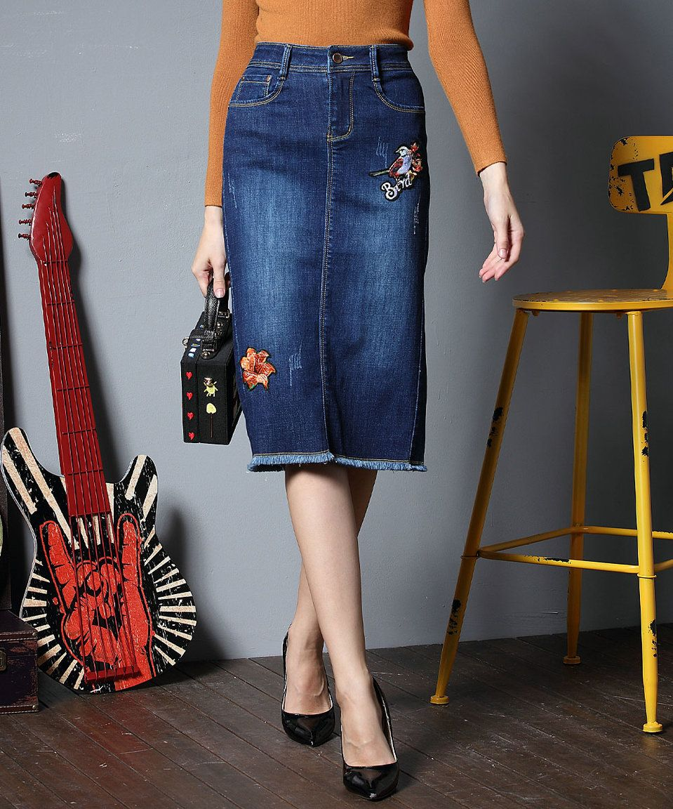 Take a look at this Coeur de Vague Dark Blue Embroidery-Accent Denim Skirt today!