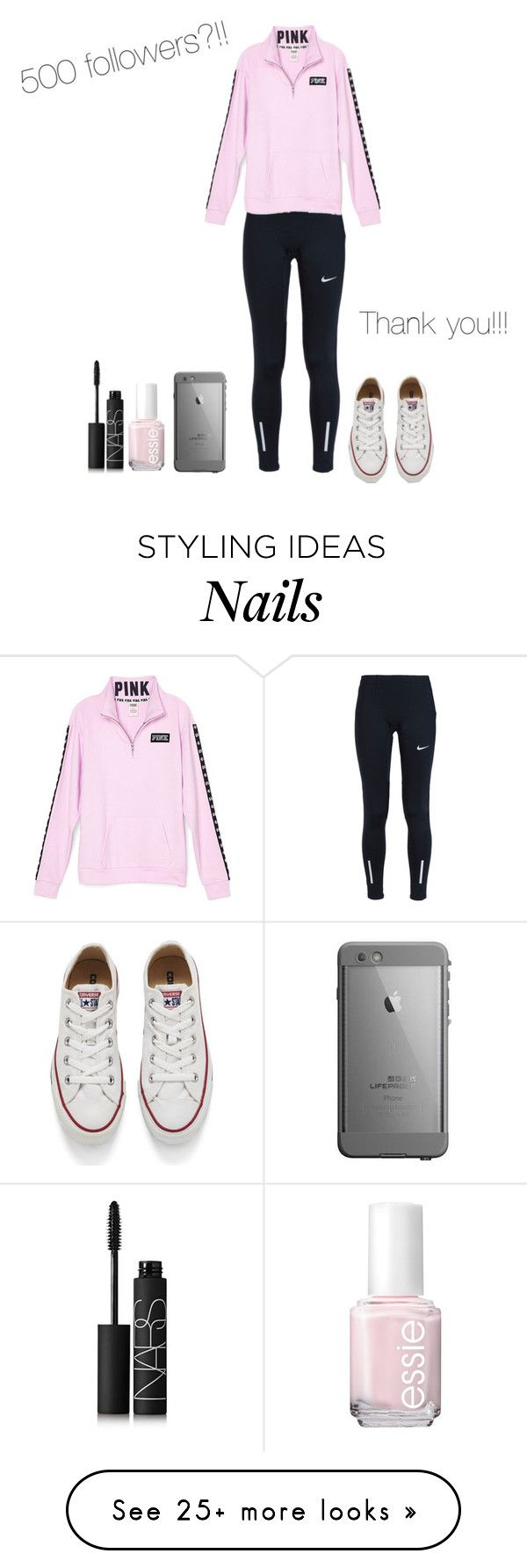 """""""Thanks for 500 followers!!!"""" by elizabethclawson on Polyvore featuring NIKE, Converse, Essie, NARS Cosmetics, women's clothing, women's fashion, women, female, woman and misses"""