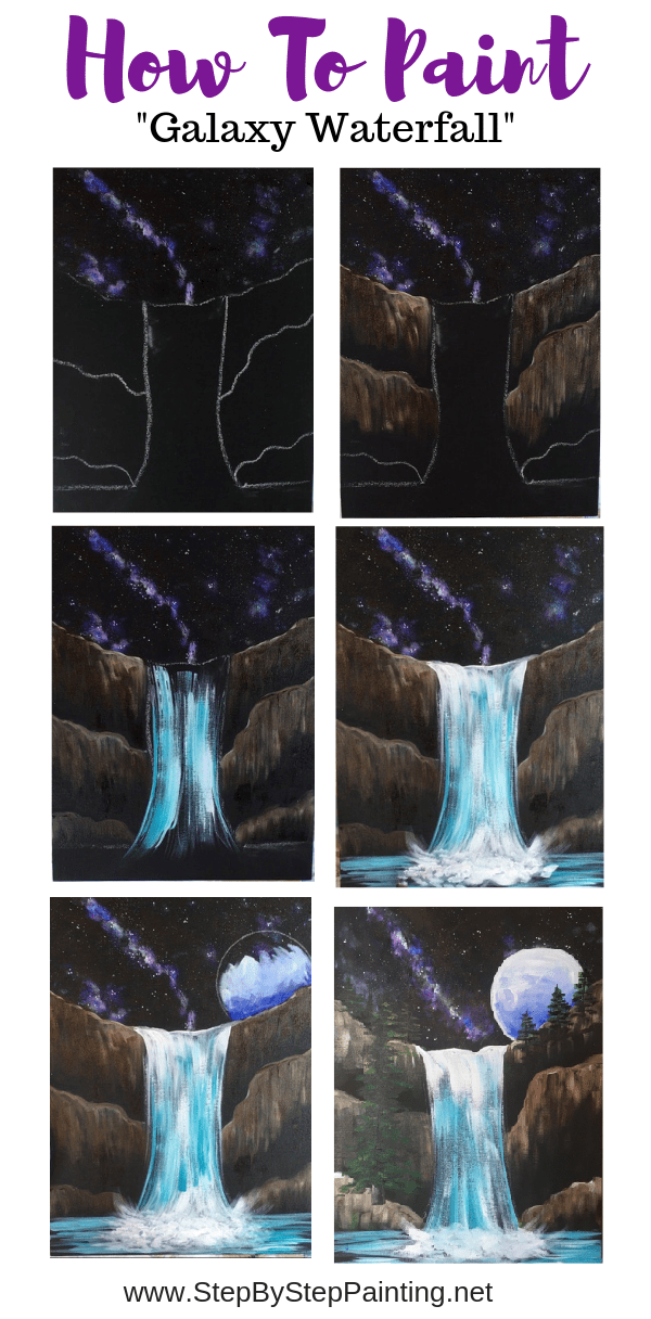 Waterfall Painting Step By Step Painting Tutorial For