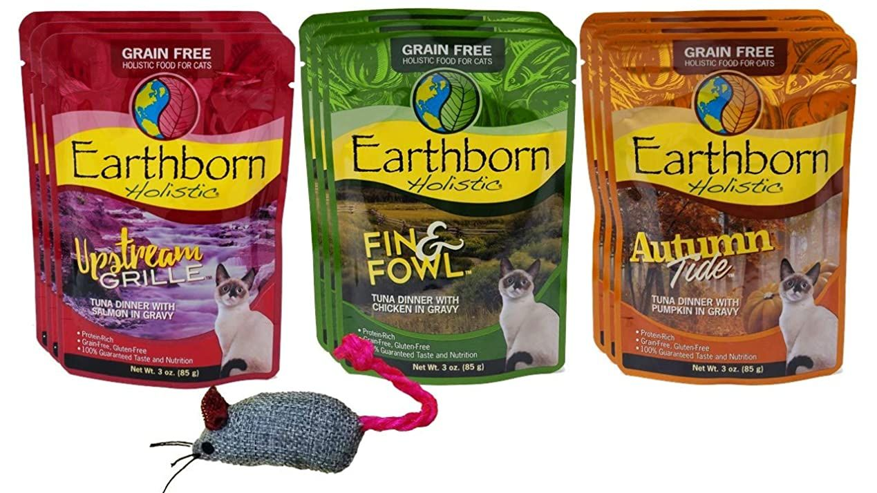 Earthborn Holistic Grain Free Cat Food 3 Flavor Variety 9 Pouch Bundle With Toy 3 Each Upstream Grille Au In 2020 Free Cat Food Grain Free Cat Food Flavor Variety