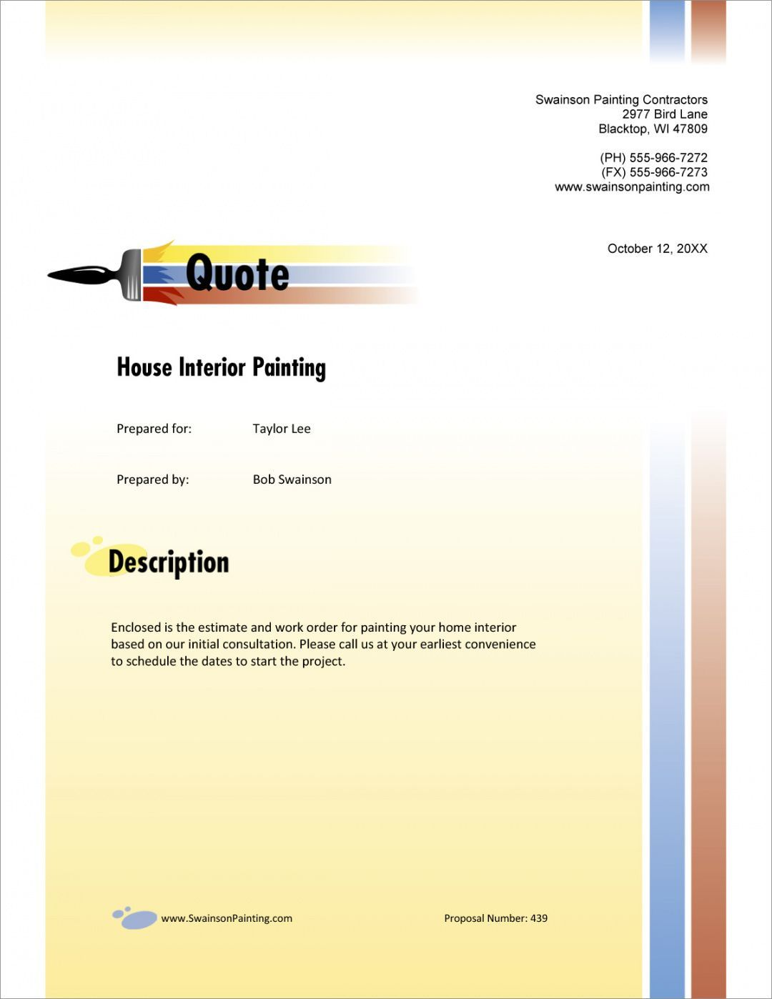 Commercial Roofing Proposal Template Estimate Template Proposal Templates Painting Contractors